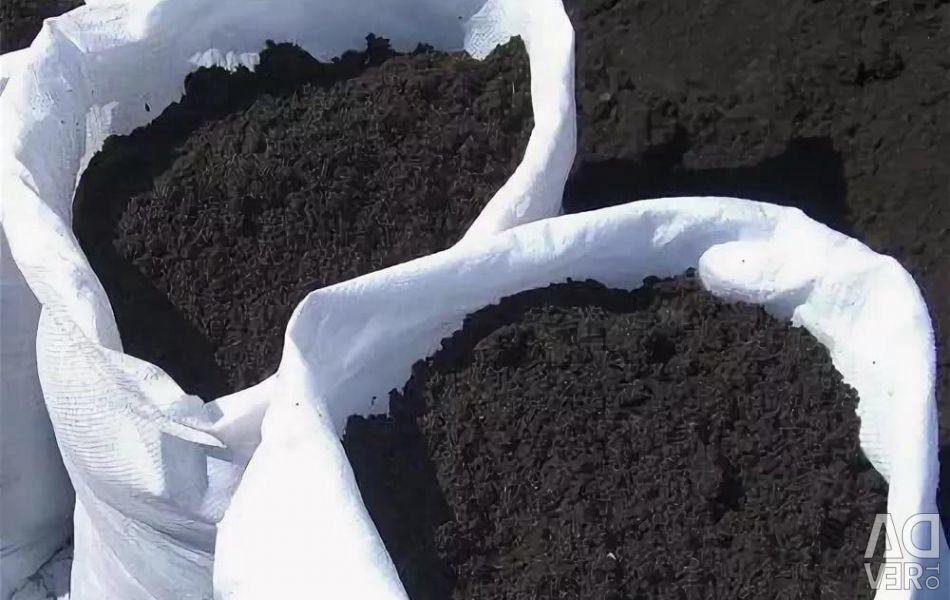 Chernozem (black, crumbly) in bags
