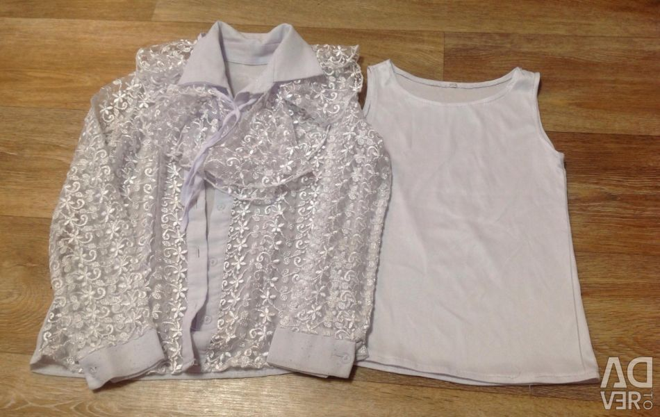 Blouse school for a girl 6-7 years.