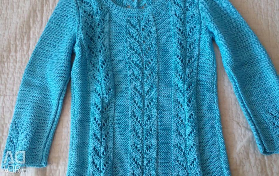 Hand knitting. Pullover for girls