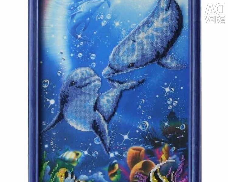 Картина бисером «Дельфины»