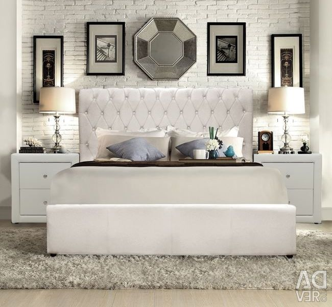 Queen bed with White Mat PU 150x200
