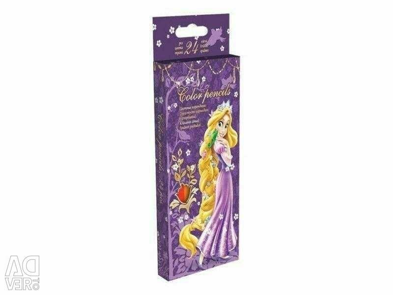 24 pencils in the Rapunzel pencil case