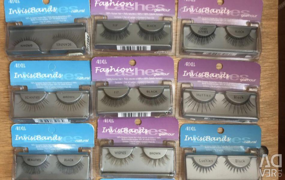 False eyelashes bunches of glue Ardell