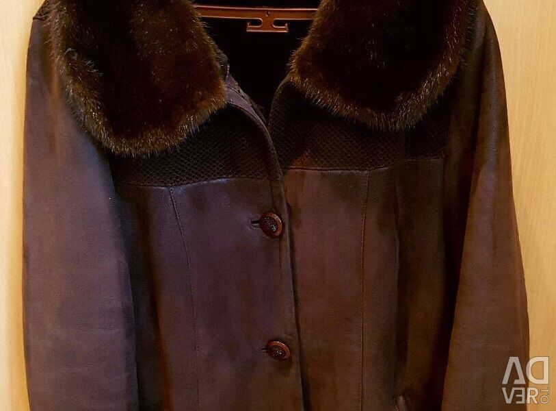 Sheepskin coat with mink collar and cuffs