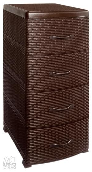 Chest 4 tiers Rattan b / decor brown