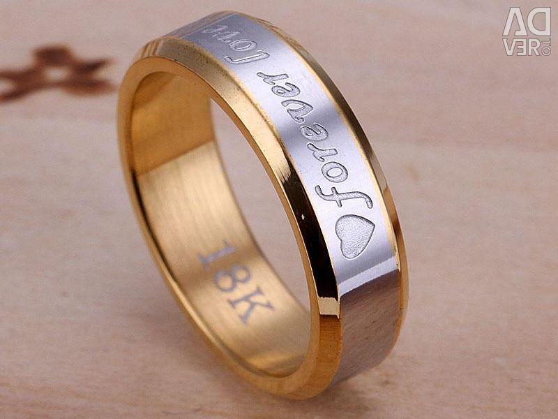 Ring forever love 18k new all sizes