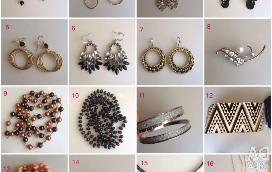 Jewelry earrings bracelet pendant ring brooch