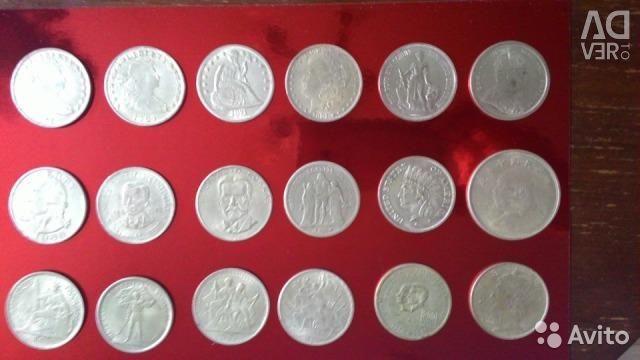 Monede de argint antice Dolarul american, francul, câinele