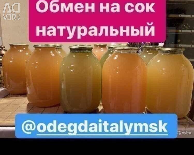 Exchange for natural juice preservation barter exchange
