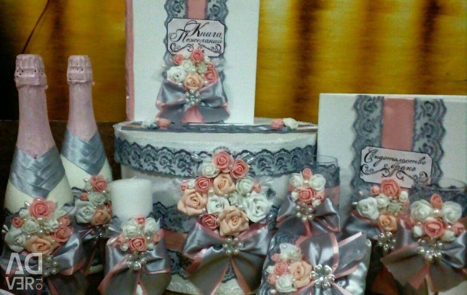 Свадебный набор в розовом цвете новый
