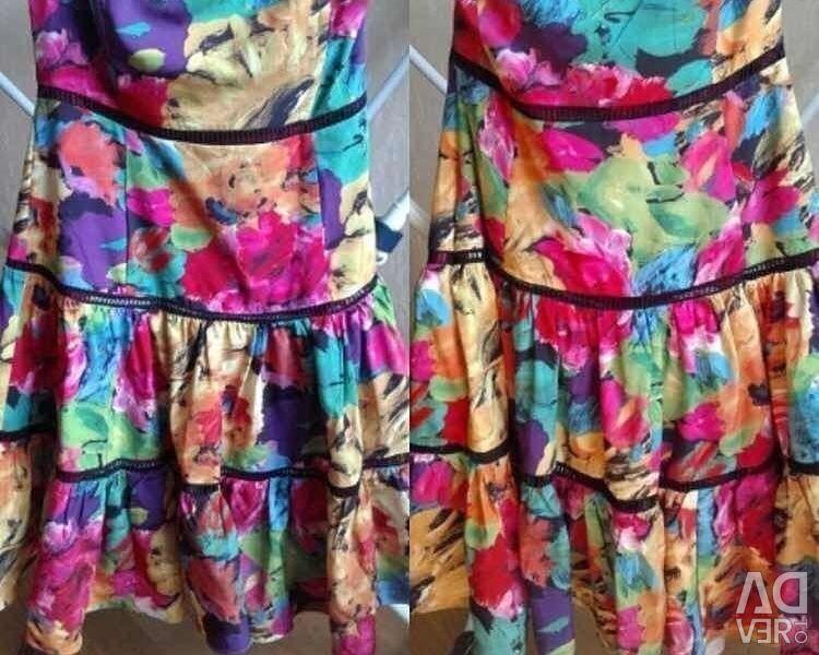 Elbise sundress Anna Sui 46 korse Sarı p alevlendi