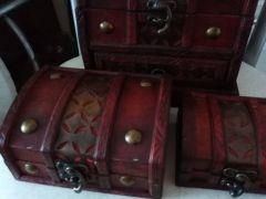 Set of caskets made of wood