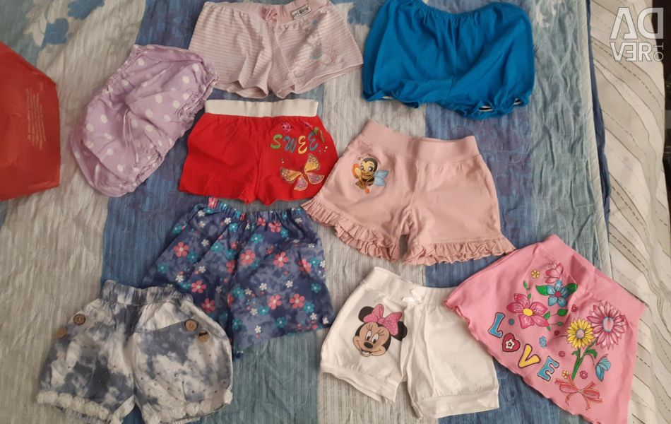 Shorts and skirts from 4 months to 3 years
