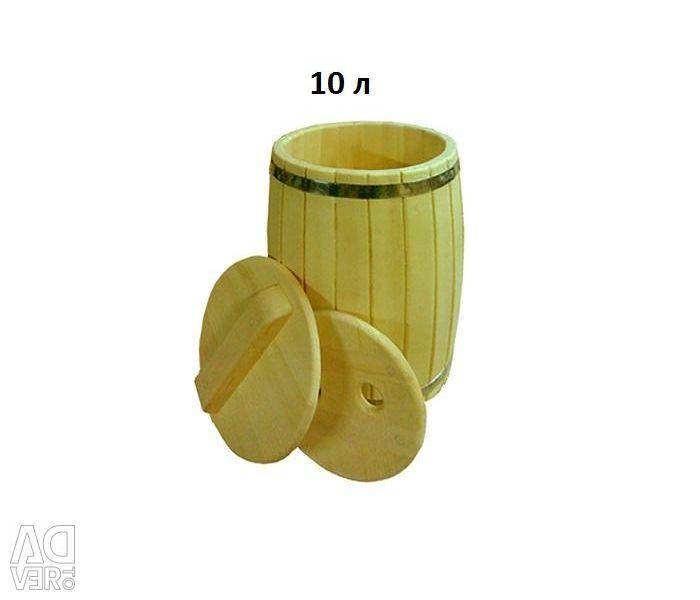Бочка кедровая, с гнeтом и крышкой, 10 л