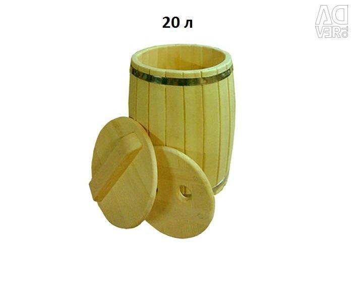 Бочка кедровая, с гнeтом и крышкой, 20 л