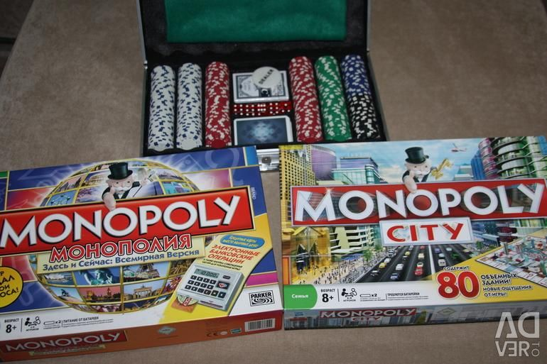 Board games Mafia, Monopoly, Poker