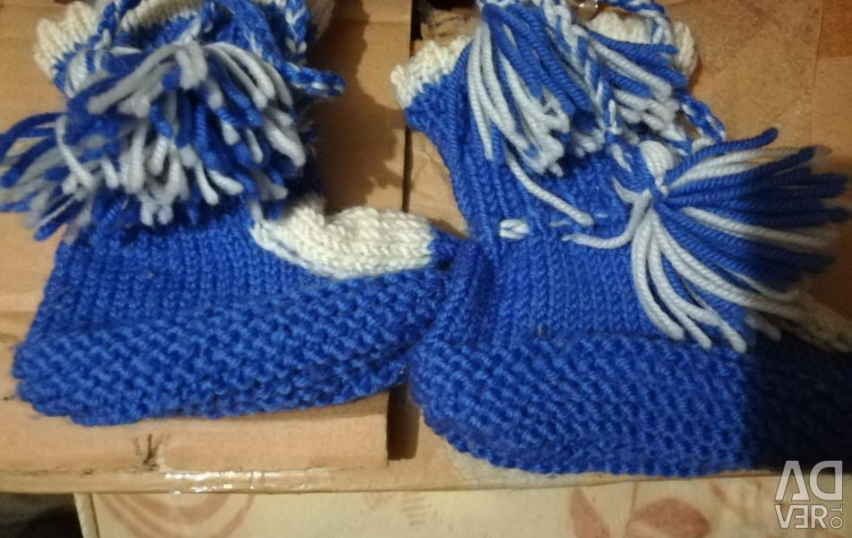 Hand knitted baby booties