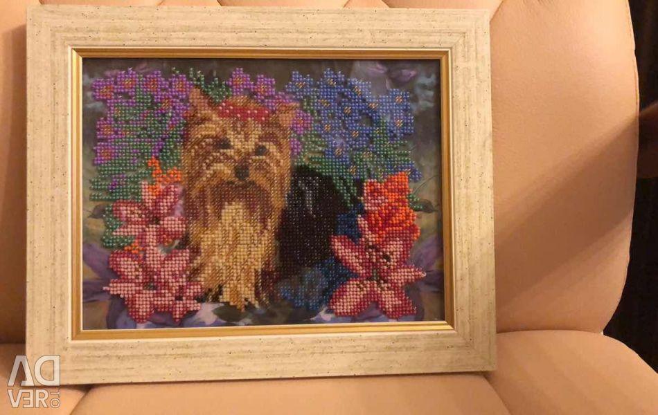 Картина бисером « Собака»