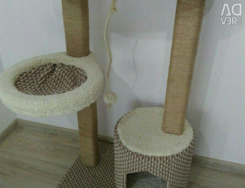 Complex for a cat with a house and hammock
