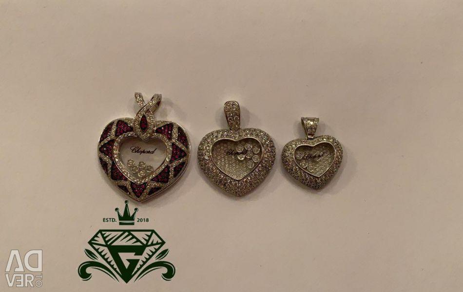 Gümüş Kalp Chopard 925 Broca