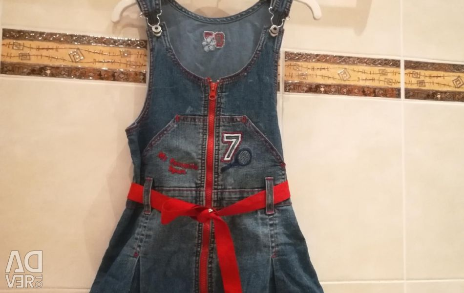 Denim overalls with a skirt on the girl 5-8 le