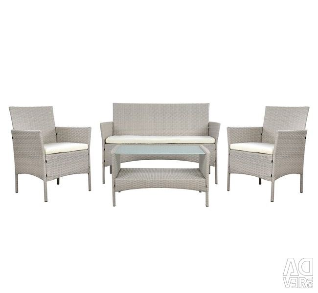SET LOUNGE 4TM GRAY RATTAN HM5290.02 WITH CUSHIONS