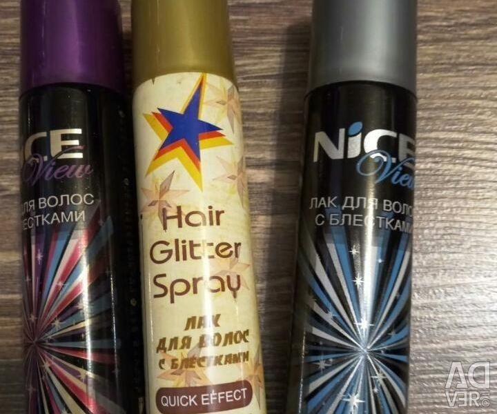 Лак для волос с блестками