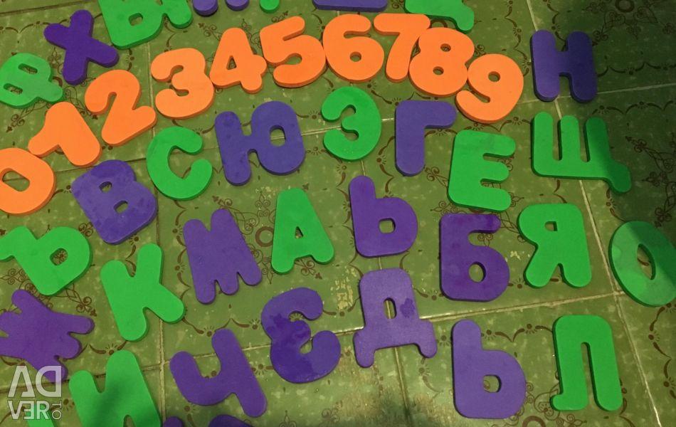 Scrisori și numere pentru a juca în baie