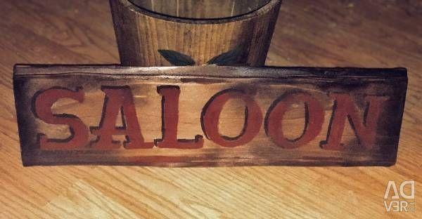 Vintage looking hand painted wood Saloon sign