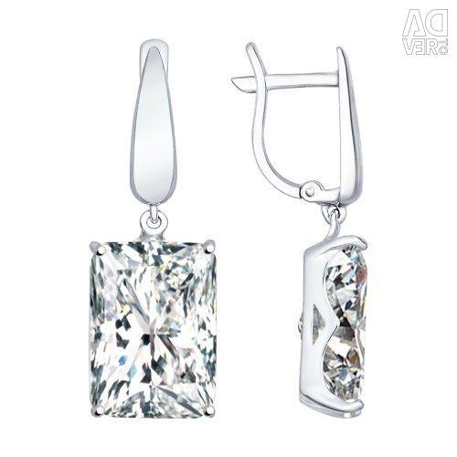 Cercei lungi de argint cu zirconia cubică