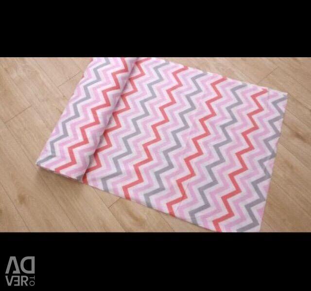 Poplin green and pink zigzag