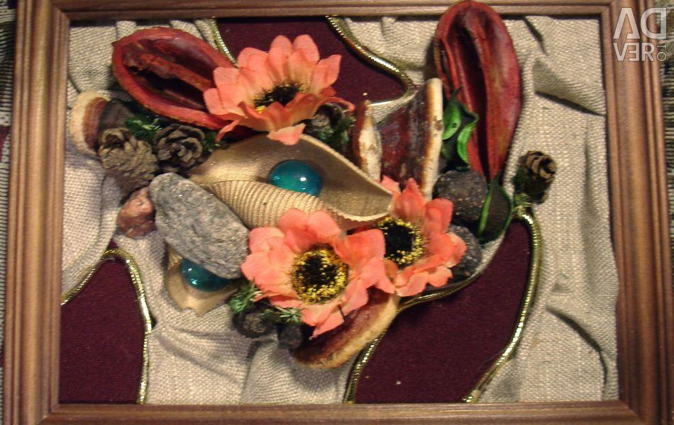 Collage. Flowers on the rocks. Handmade