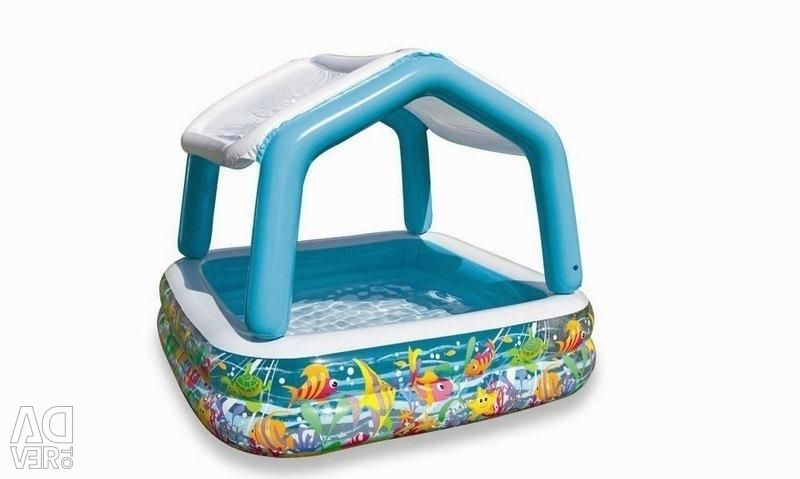 Children's pool with a canopy, 157x157x122 cm, 57470