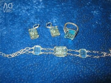 Jewelry set, silver plated.
