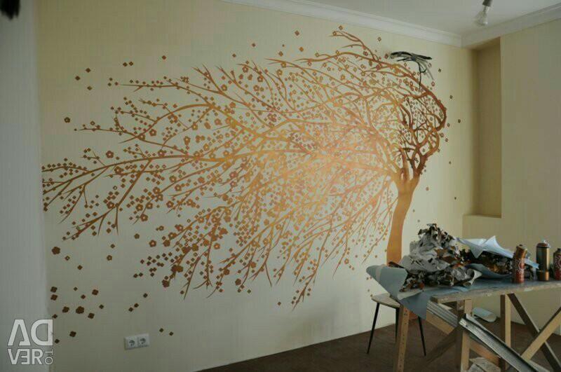 Καλλιτεχνική ζωγραφική τοίχων, διαμερισμάτων, καφέ