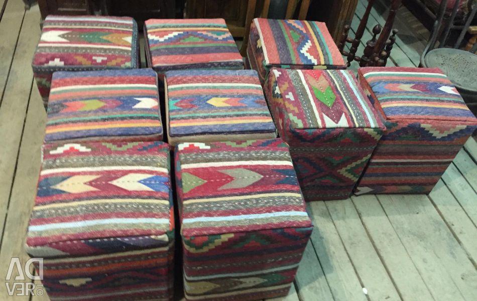 Eastern padded stools. Eastern rug kilim