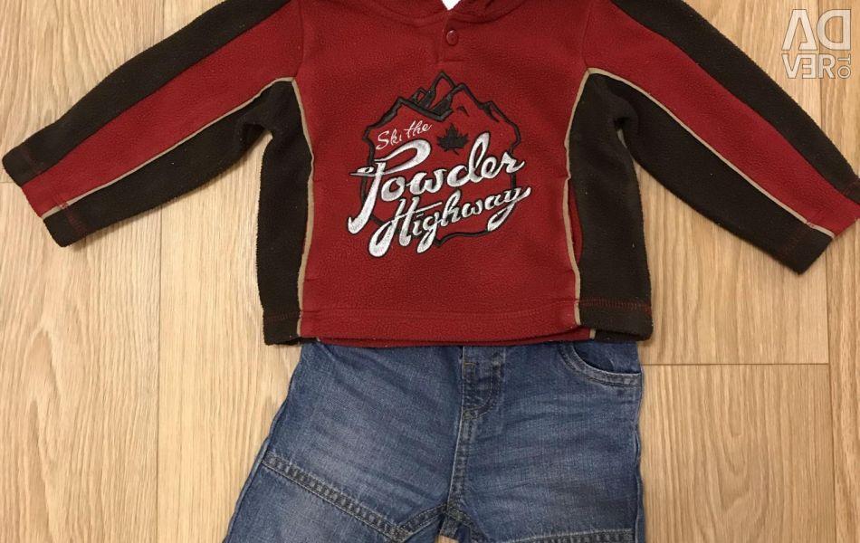 Толстовка и джинсы 74