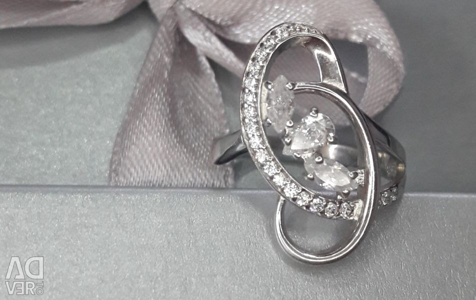 Silver ring with cubic zirconia NEW