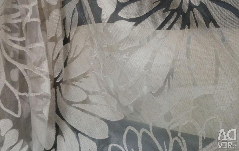 Тюль органза лен с цветами,цена за 1п.м