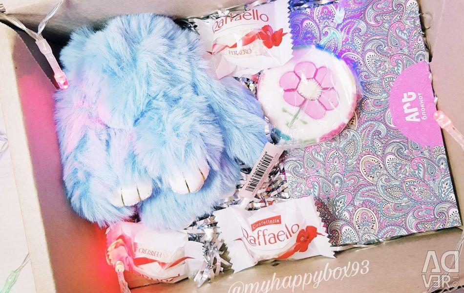 Gift set rabbit fur keychain girl