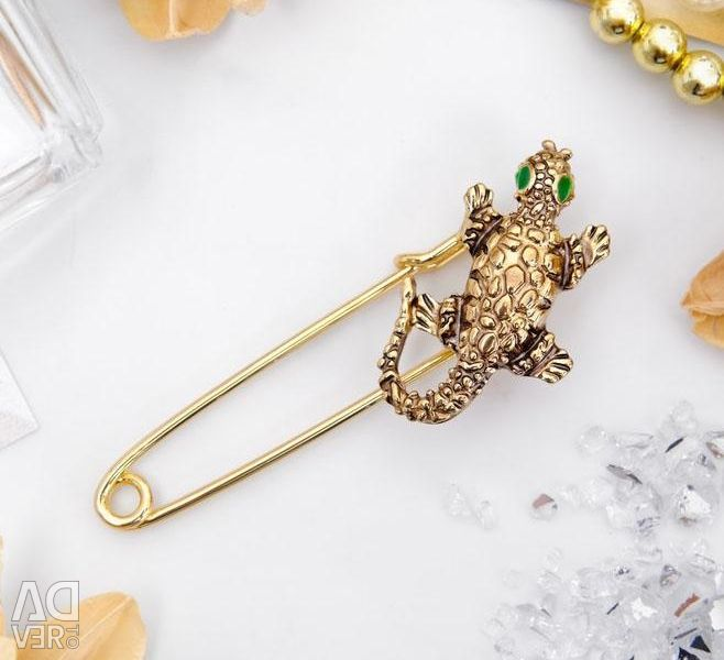 Ασφάλεια καρφίτσα Lizard 5,5 cm, χρυσό χρώμα. Νέα.