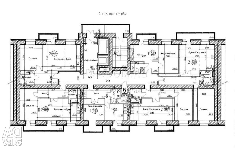 Apartament, 1 cameră, 53,7 m²