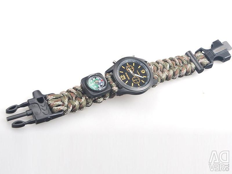 Bracelet with flint, compass, watch and whistle.