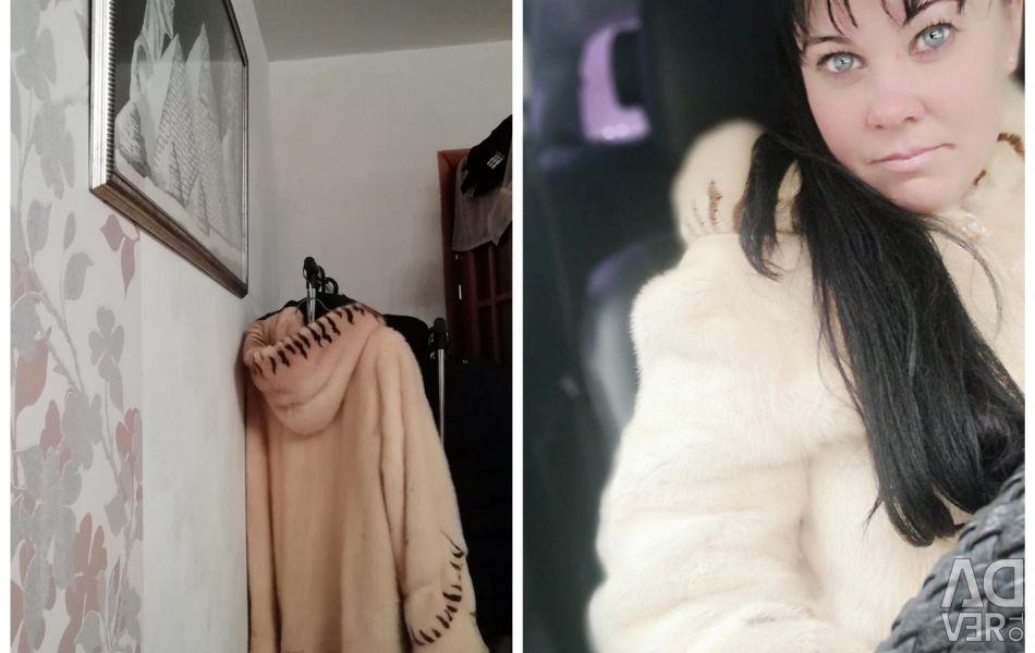 Fur coat mink cream.