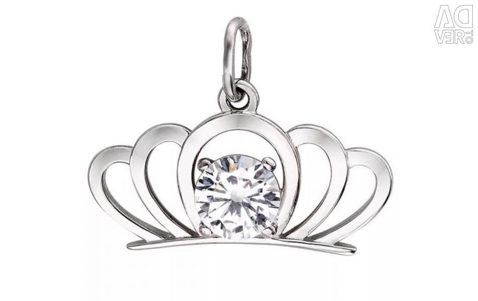Silver crown pendant
