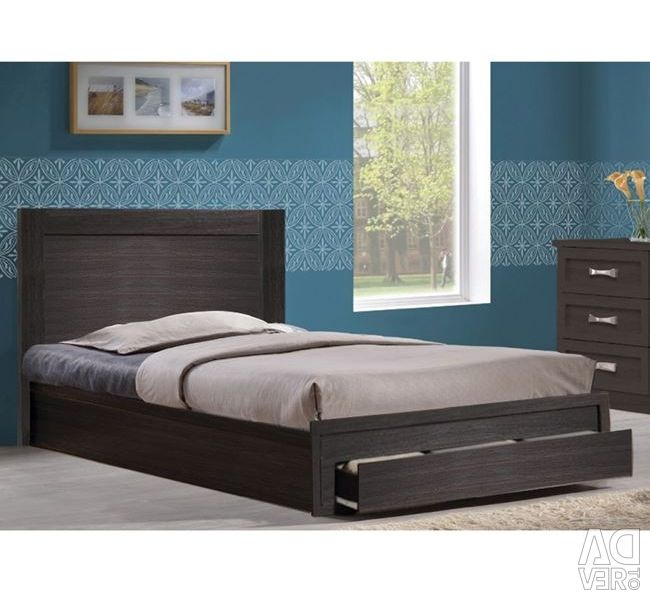 Melany Bed with 1 Drawer in Zebrano 110x190