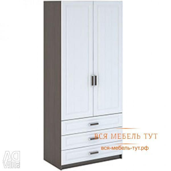 Prague Wardrobe 2-fold linen with drawers MDF (wenge / white wood) ShK-905