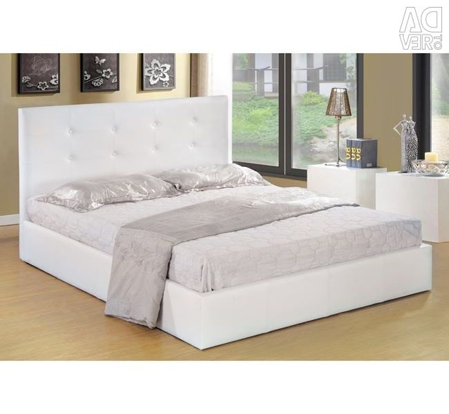 Gardenia Bed with Storage Area in White PU