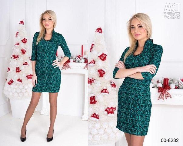 Dress with velvet trim