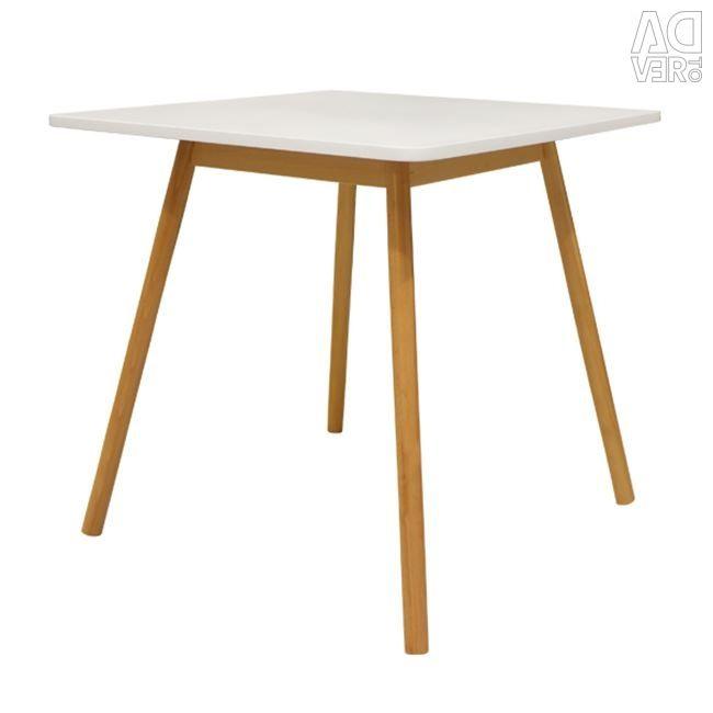 Las Vegas White Table 80x80 With Wooden Fox Oxy City Limassol